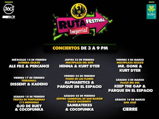 Calendario Ruta Festival Imperial - Adondeirhoy.com