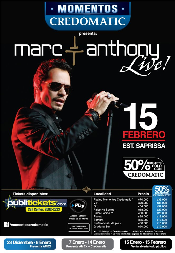 Vuelve Marc Anthony en Costa Rica