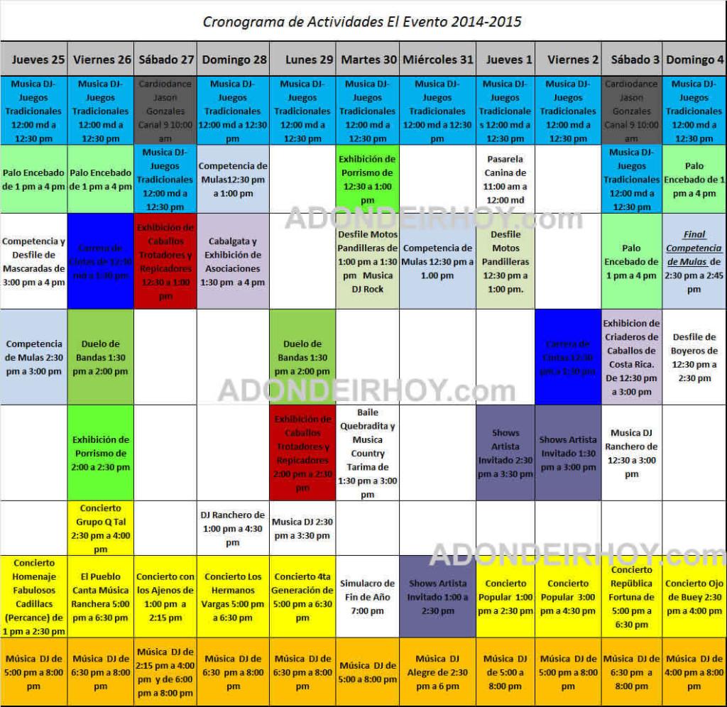 Cronograma de Actividades El Evento 2014-2015
