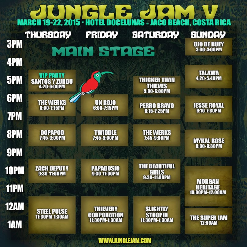 Line Up Schedule Jungle Jam V 2015 Costa Rica