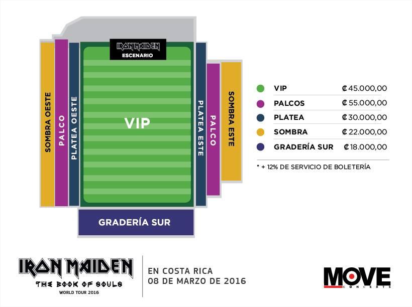 Mapa Estadio Concierto Iron Maiden en Costa Rica