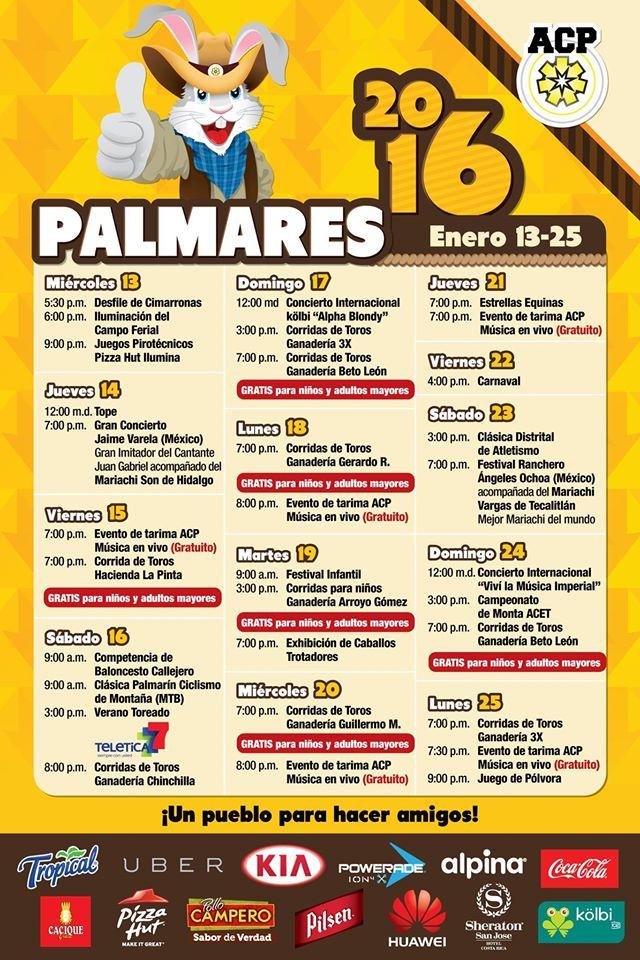 Calendario Fiestas Palmares 2016 y Barra Imperial