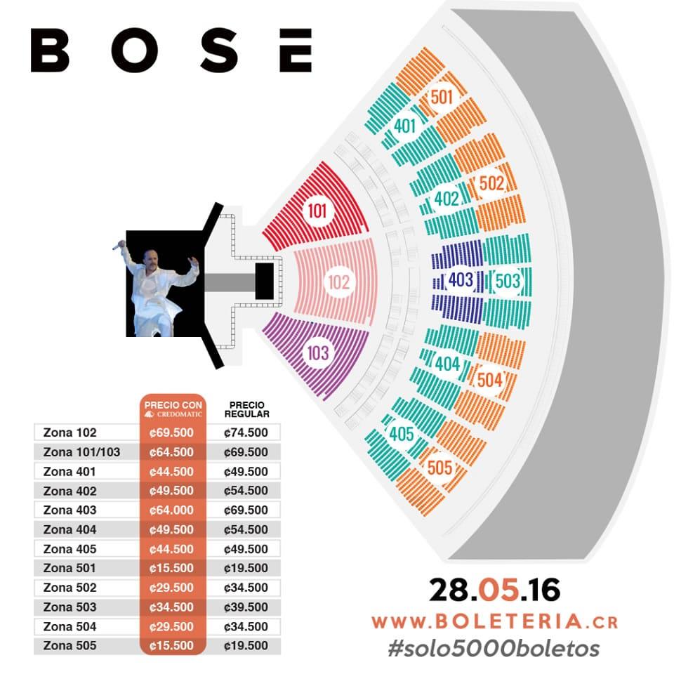 Mapa entradas concierto de Miguel Bosé en Costa Rica