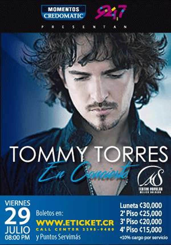 entradas concierto tommy torres en costa rica 2016