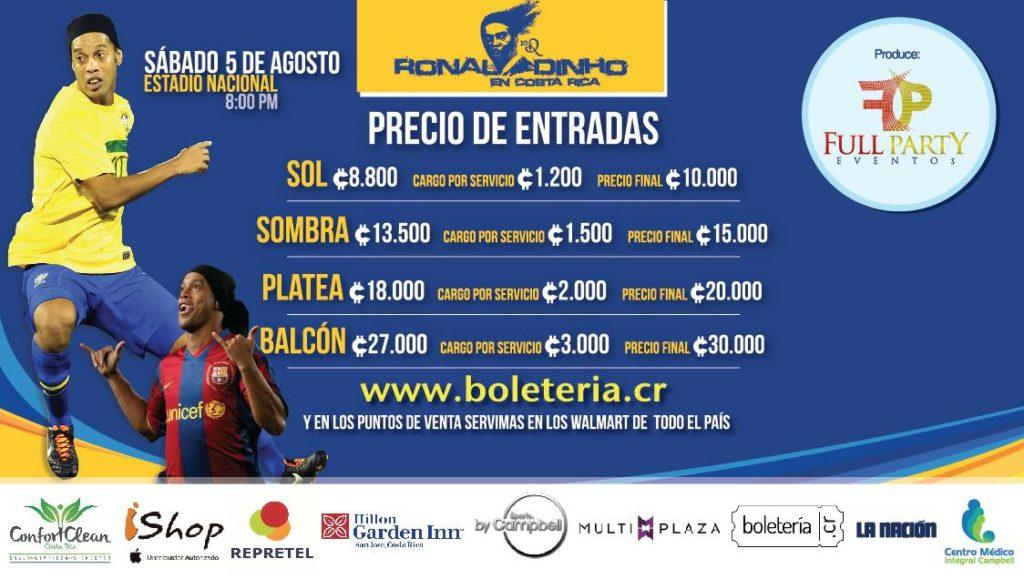Entradas Ronaldinho en Costa Rica