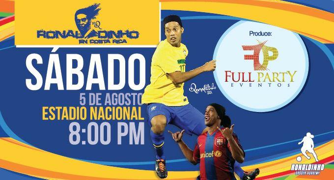 Ronaldinho jugará 90 con íconos del futbol costarricense
