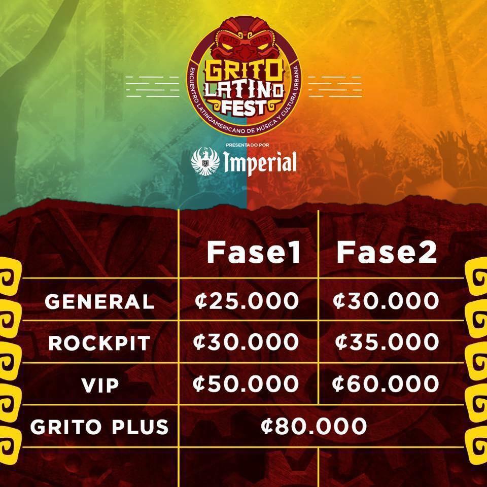 Precios Entradas Grito Latino Fest 2018