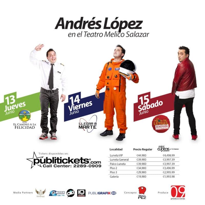 Precios Entradas Funciones Localidades Andres Lopez Costa Rica 2019