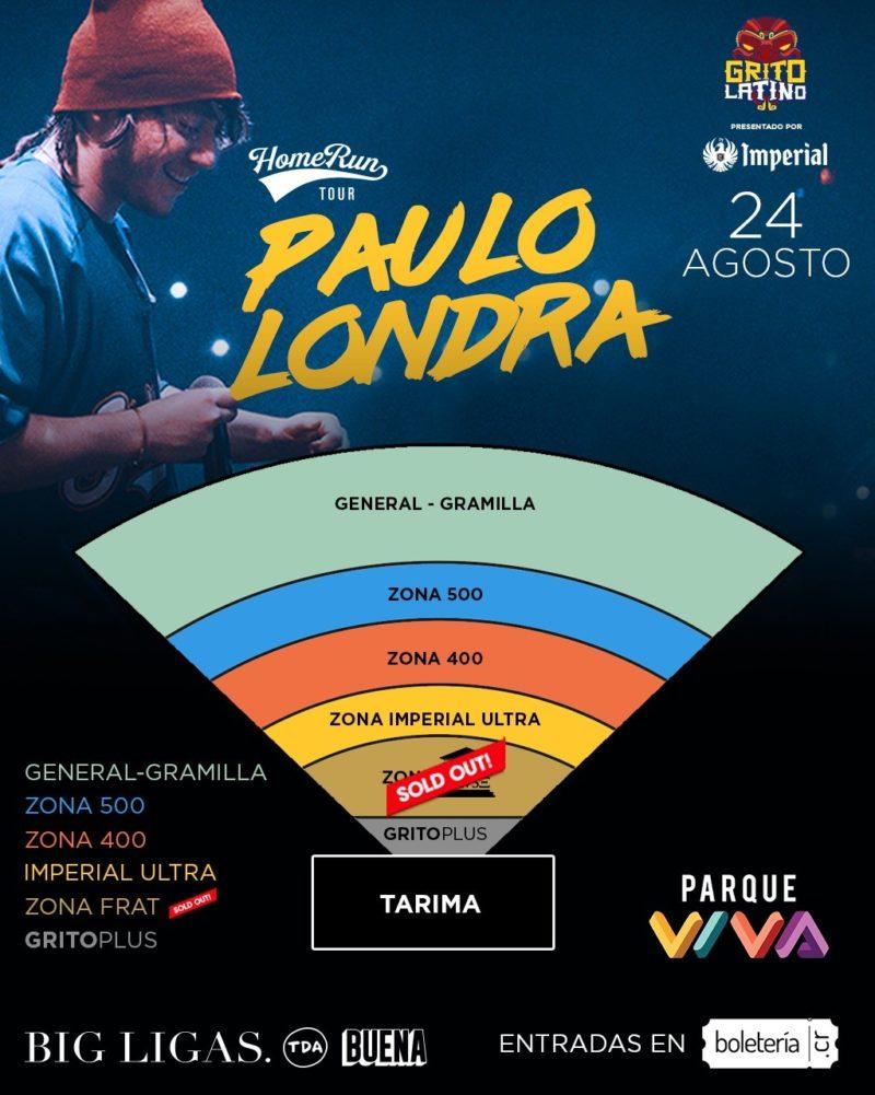 Mapa asientos Paulo Londra en Costa Rica