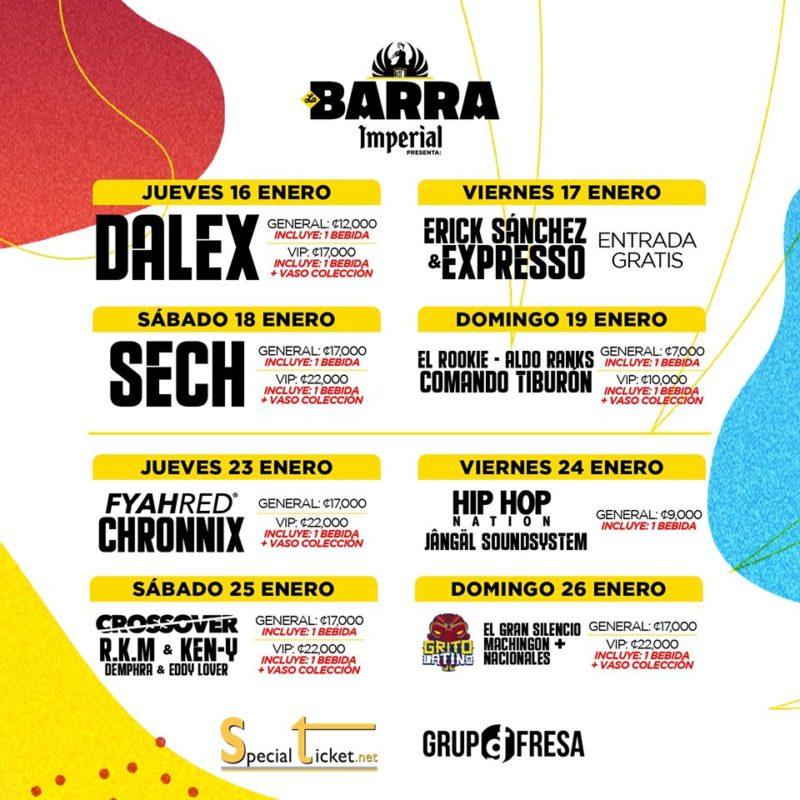 Calendario Barra Imperial y Tope en Fiestas de Palmares 2020