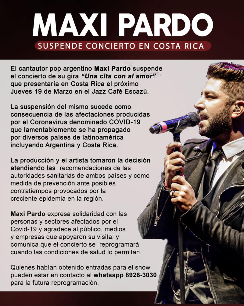 MAXI PARDO SUSPENDE CONCIERTO EN COSTA RICA